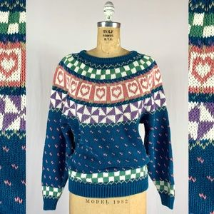 90s Northern Fair Isle Heart Nordic Cotton Sweater